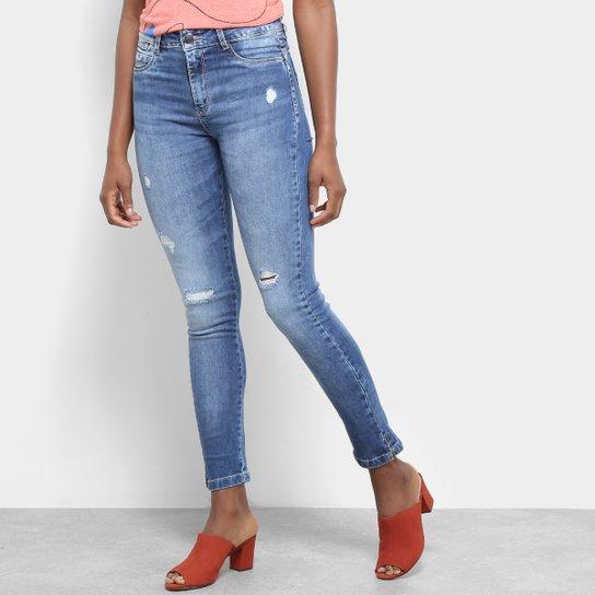 904b50501 Calça Jeans Sawary Cigarrete Destroyed Rasgos Abertura Barra Feminina - Azul