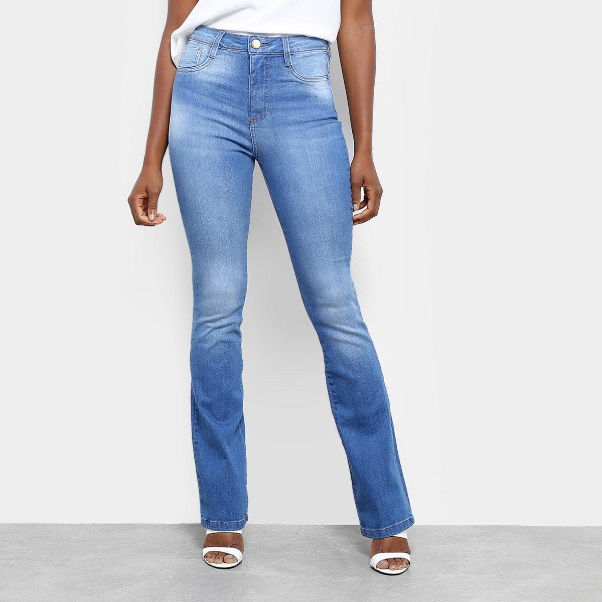 ad827d201 Calça Jeans Flare Sawary Estonada Cintura Alta Super Lipo Feminina