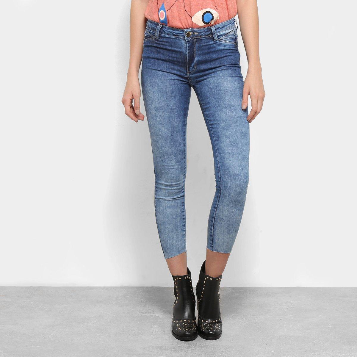 6e4b84e08 Calça Jeans Skinny Sawary Estonada Cropped Cintura Média Feminina