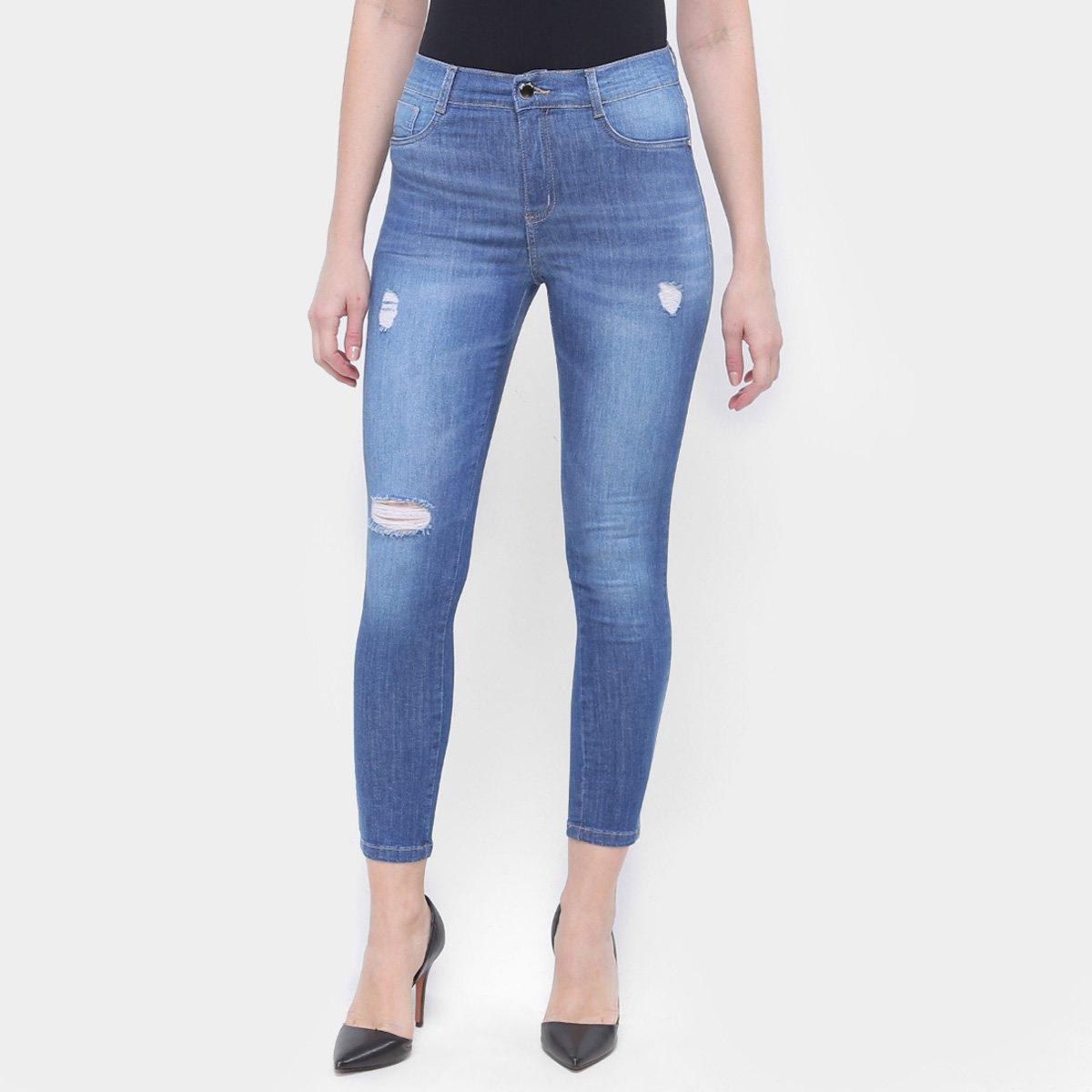 Calça Jeans Cigarrete Sawary Puídos Feminina