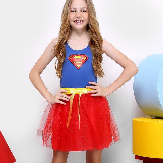 18a824eb6 Fantasia Infantil Sulamericana Super Mulher Dress Up Feminina - Azul ...