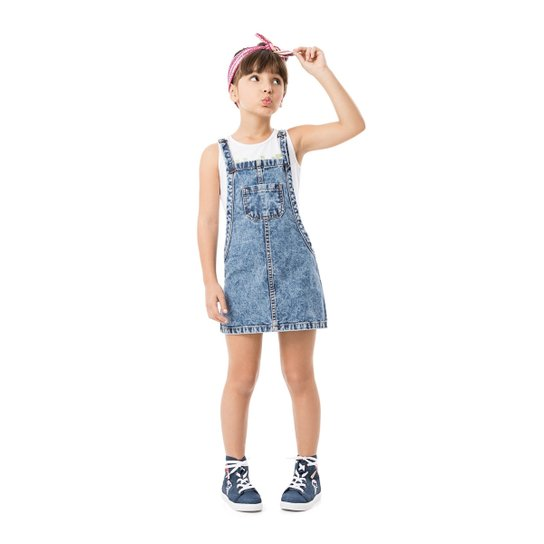 26ecb1f11b Jardineira jeans infantil Malwee Kids - Compre Agora