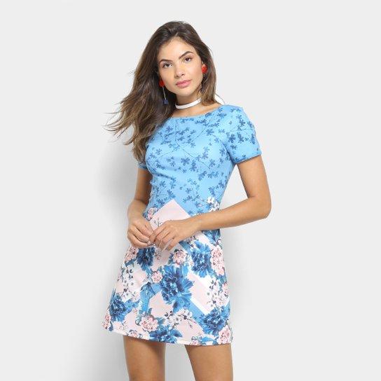 d7000be6f Vestido Lança Perfume Evasê Floral - Azul | Zattini