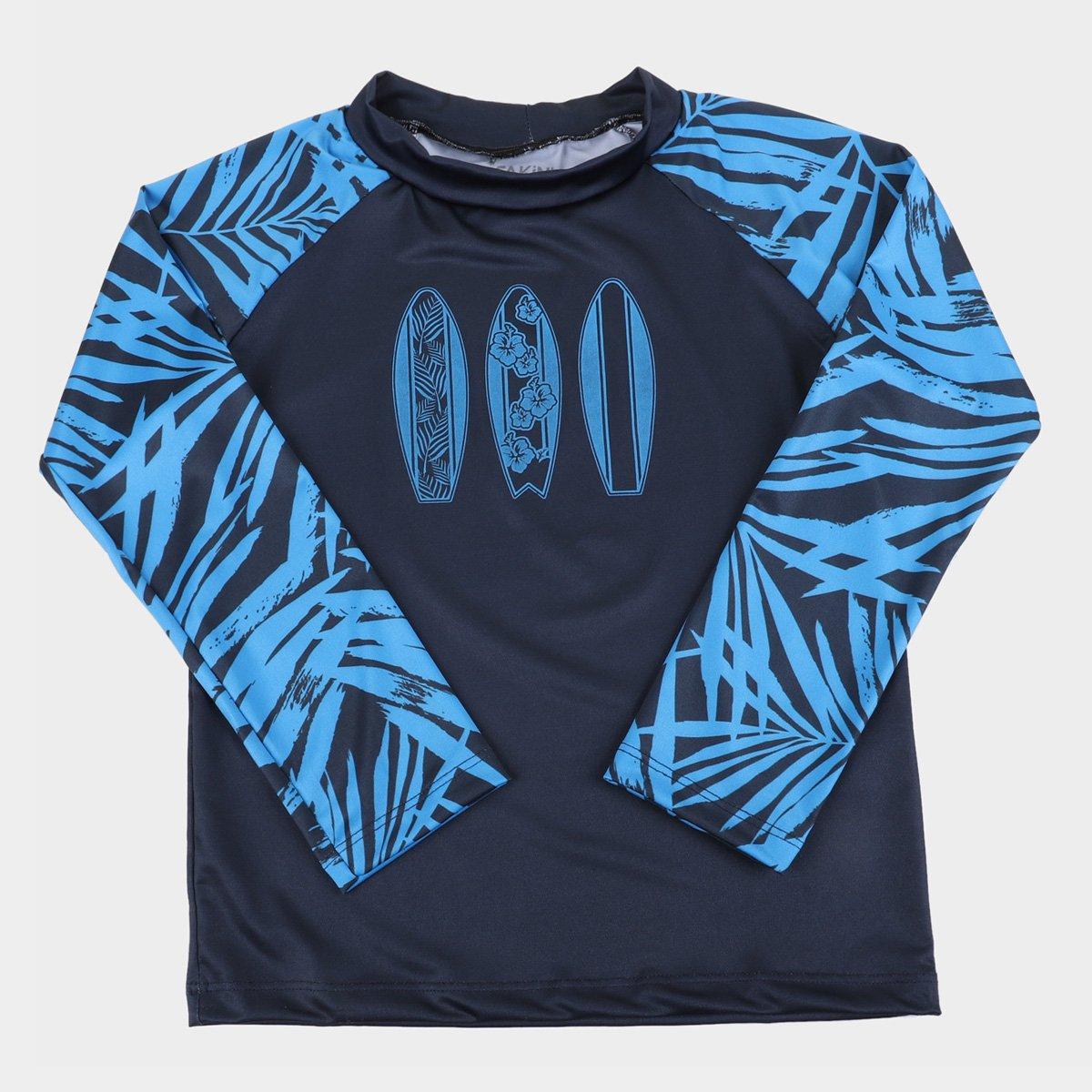 Camiseta Infantil Fakini Praia Manga Longa Proteção UV 50+ Masculina