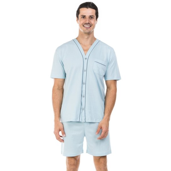 13cad863b Pijama Curto de Malha Aberto com Botões Dulmar - Azul