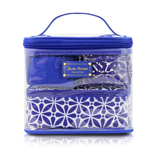 e9d1769a0a Kit Necessaire 3 em 1 Geométrica Jacki Design Poliéster + PVC - Azul ...