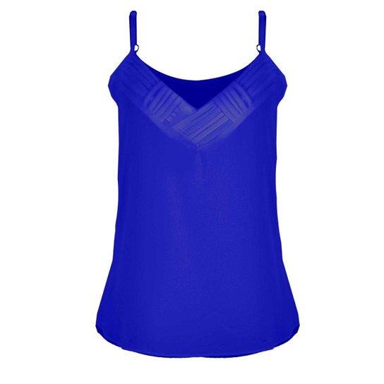 dfe7ed2a4d Regata OTD Crepe Alcinha Básica Decote V Tiras Transpassadas Feminina - Azul