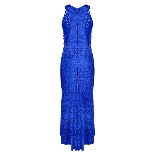 319e9c8a3c Vestido OTD Festa Formatura Longo Rendado Detalhe Renda Guippir - Azul
