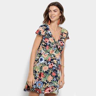 669346f42 Vestido Lily Fashion Evasê Curto Floral Decote Nó