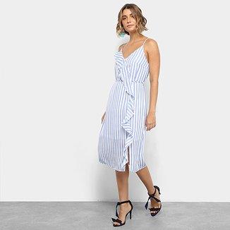 482cb2dce0f77 Vestido Lily Fashion Midi Evasê Estampa Listrada Detalhe Babado