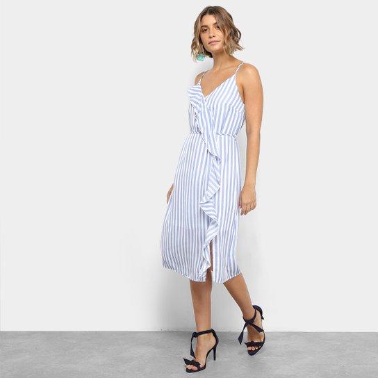 3d7e0cc90 Vestido Lily Fashion Midi Evasê Listrado Detalhe Babado - Azul Claro+Branco
