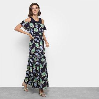 3a22f8d85 Vestido Top Moda Longo Open Shoulder Floral Babado