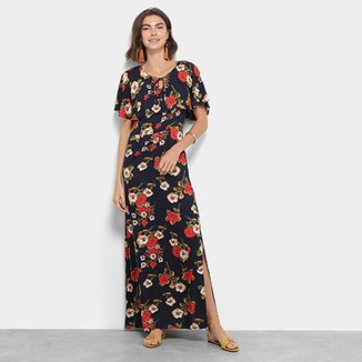 764c0157e Vestido Longo Top Modas Floral com Fendas