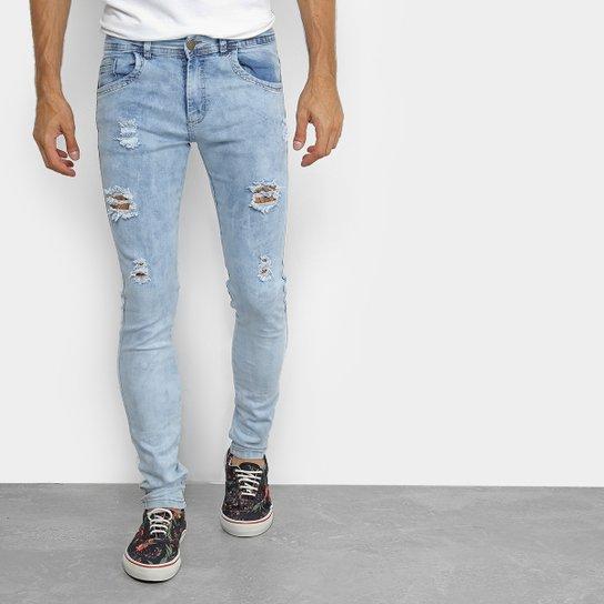 Calça Jeans Coffee Delavê Skinny Masculina - Azul - Compre Agora ... 83ec320927a46