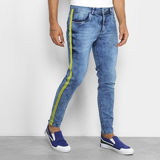 8b275b3545961 Calça Jeans Skinny Coffee Delavê Listra Lateral Masculina