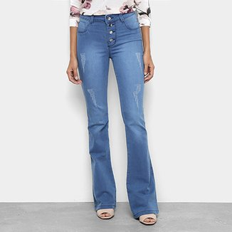 9d4bc6b67 Calça Jeans Flare Coffee Estonada Puídos 4 Botões Cintura Alta Feminina