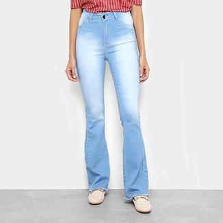 5f3f0bcf6 Calça Jeans Flare Coffee Barra Desfiada Cintura Alta Feminina