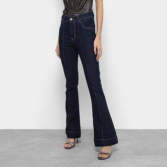 Calça Jeans Flare Coffee Cintura Média Feminina 493f5195e45