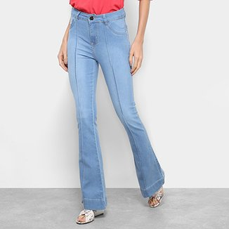 dc5b983aaeea2 Calça Jeans Flare Coffee Vinco Cintura Alta Feminina