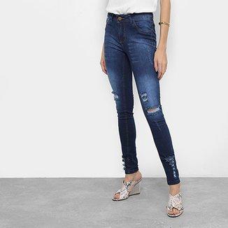 a4b131116 Calça Jeans Skinny Coffee Rasgos Cintura Média Feminina