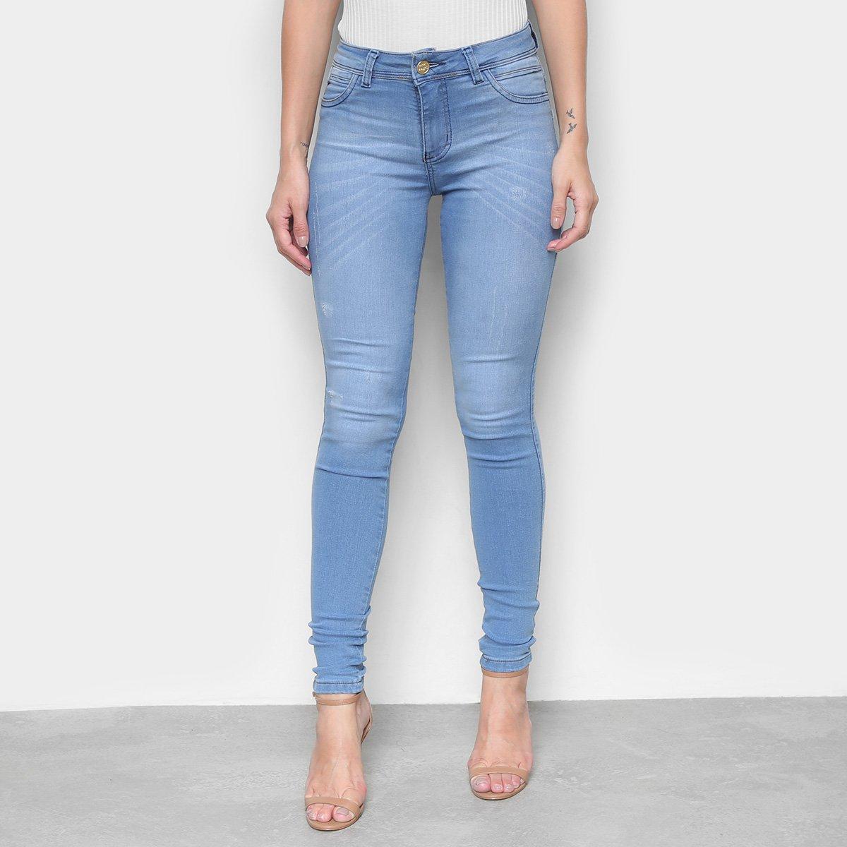 Calça Jeans Coffee Flare Botões Feminina
