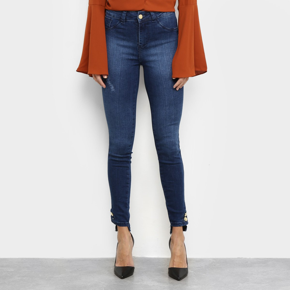 Calça Jeans Skinny Estonada Botões Barra Feminina
