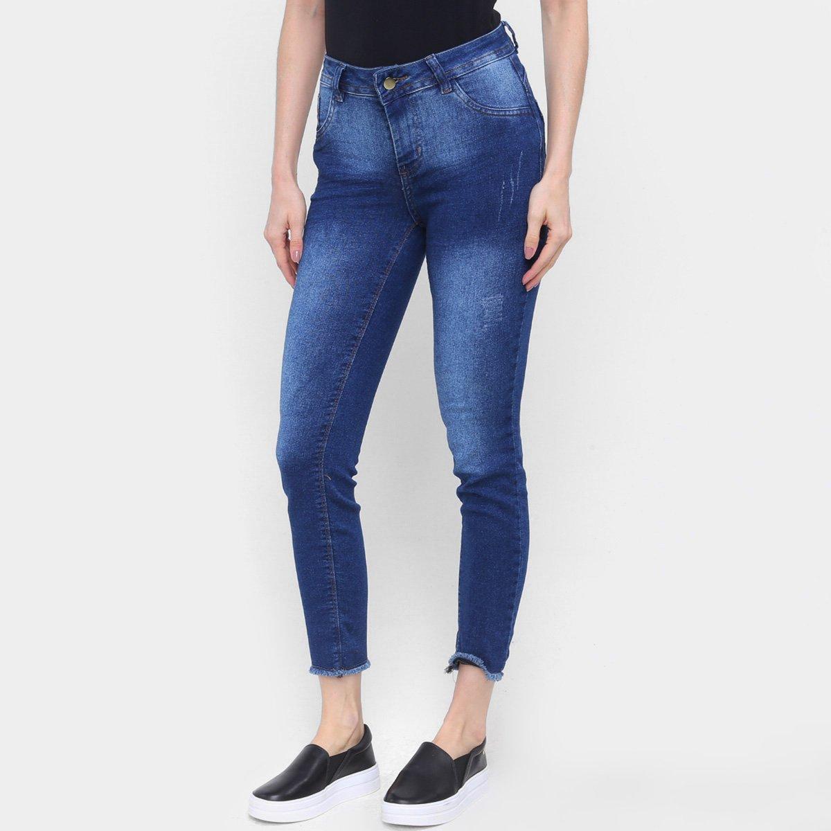 Calça Jeans Skinny Coffee Super Confort Barra Desfiada Feminina
