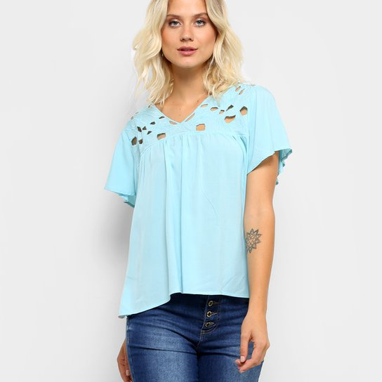 Blusa Holin Stone Bata Vazada Feminina - Azul - Compre Agora  3de5e9a7e8b