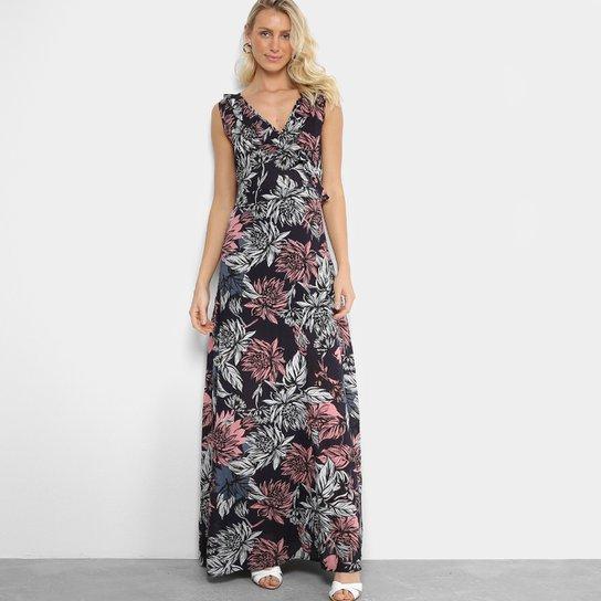 0dbc0d3fe1 Vestido Longo Estampado Floral Mixxon Feminino - Azul