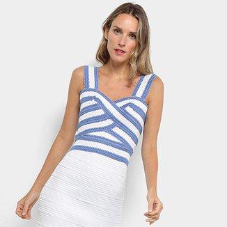 ea14945dd5b1a Blusa For Why Cropped Bandagem Listrada Feminina