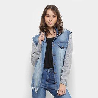 769be7f0c6b76 Jaqueta Jeans Fitwell Capuz Moletom Feminino