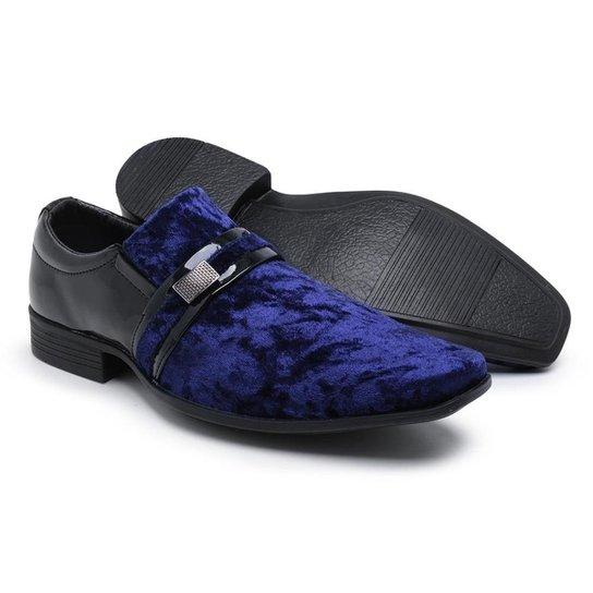 d810fa6eb Sapato Social Couro Schiareli Verniz Masculino - Azul e Preto | Zattini