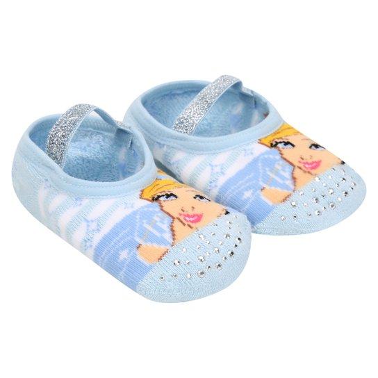 Meia Sapatilha Boneca Puket Cinderela Infantil - Azul Claro+Branco 1e3ef344232
