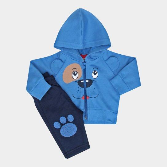 e08c313de2 Conjunto Infantil Kyly Moletom Cachorrinho Manga Longa Masculino - Azul