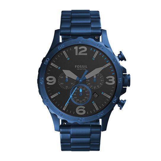 Relógio Fossil Masculino Nate Chrono - JR1530 4PN JR1530 4PN - Azul+Preto f692cf70b4