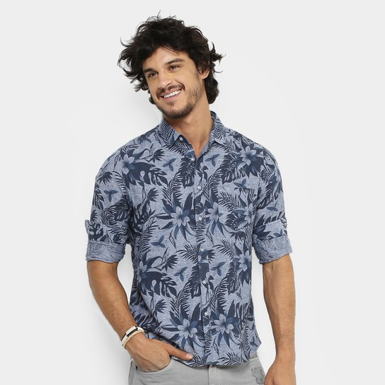 Camisa Pacific Blue Floral Hawaii Masculina - Compre Agora  d5e773f7fa0