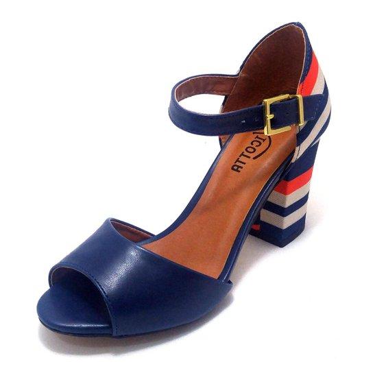 5be1c1c6ec Sandalia Pizaflex Salto Grosso Feminino - Azul - Compre Agora