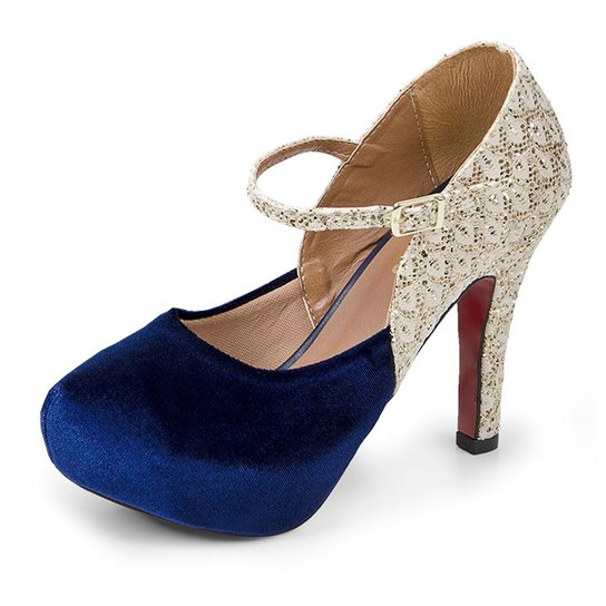d6f4b52a1e Scarpin Salto Alto Pizaflex Plataforma Com Glitter Feminina - Azul ...