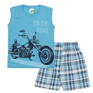 Conjunto Infantil Regata On The Road e Bermuda em Sarja Xadrez Masculino a7d23d92d29