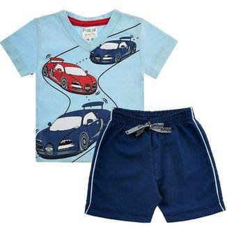 Conjunto Infantil Confecções Fantoni Camiseta Carros em Meia Malha e  Bermuda em Tactel Masculino 0397e0b4eef