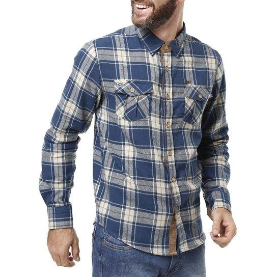 a3d4d4cd257 Camisa Flanela Manga Longa Masculina Gangster Azul - Compre Agora ...