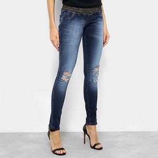 468da43c0 Calça Jeans Skinny Biotipo Lurex Cintura Média Feminina