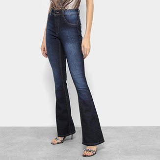 Calça Jeans Flare Biotipo Melissa Estonada Cintura Média Feminina c7d32528bbe
