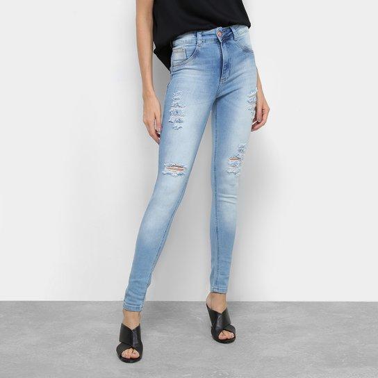 100575e090 Calça Jeans Skinny Biotipo Cintura Média Rasgos Feminina - Azul ...