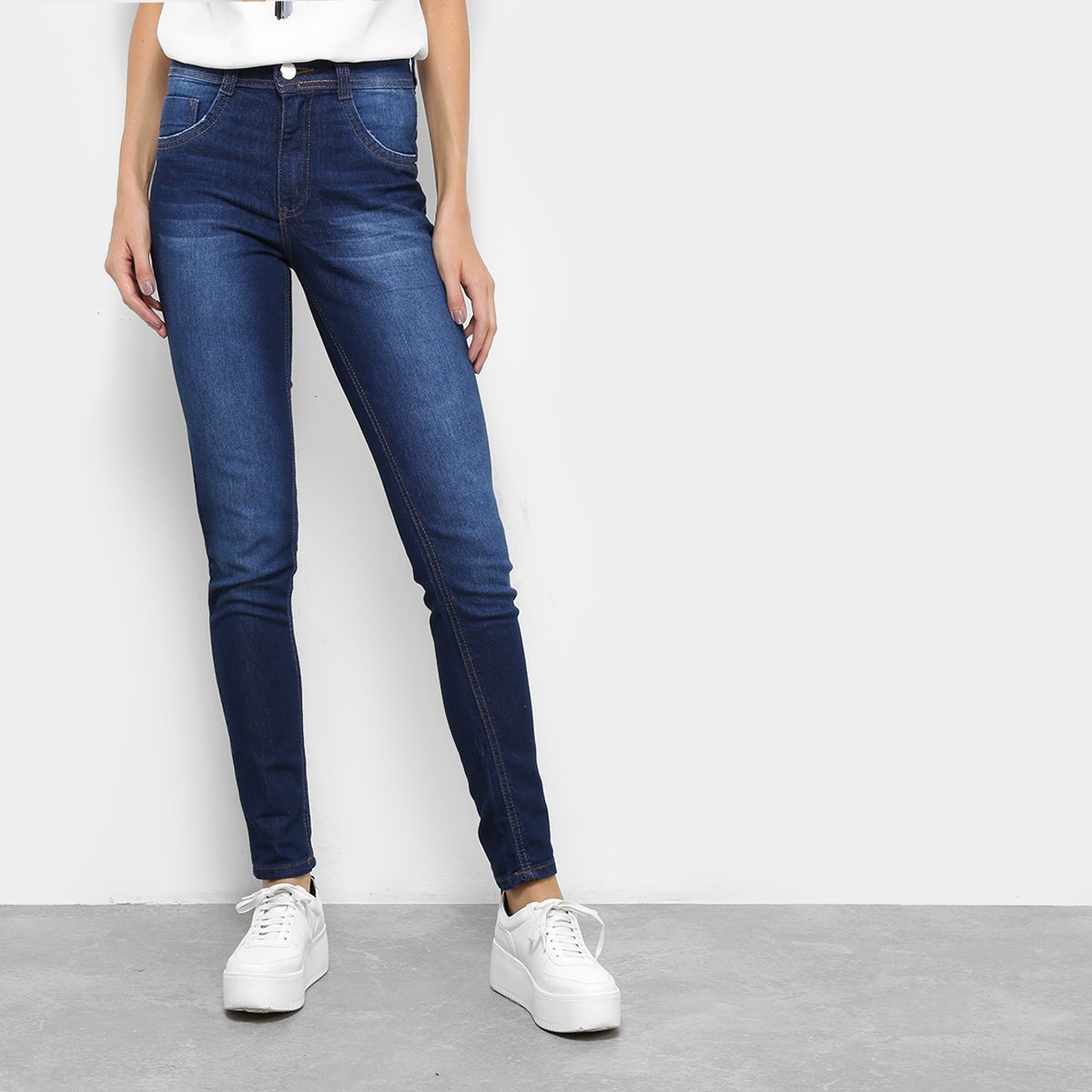 344fb6249 Calça Jeans Skinny Biotipo Melissa Soft Estonada Cintura Média Feminina