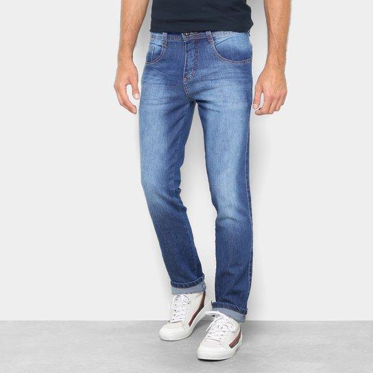 a2cda34402 Calça Jeans Reta Biotipo Estonada Cintura Média Masculina - Azul ...