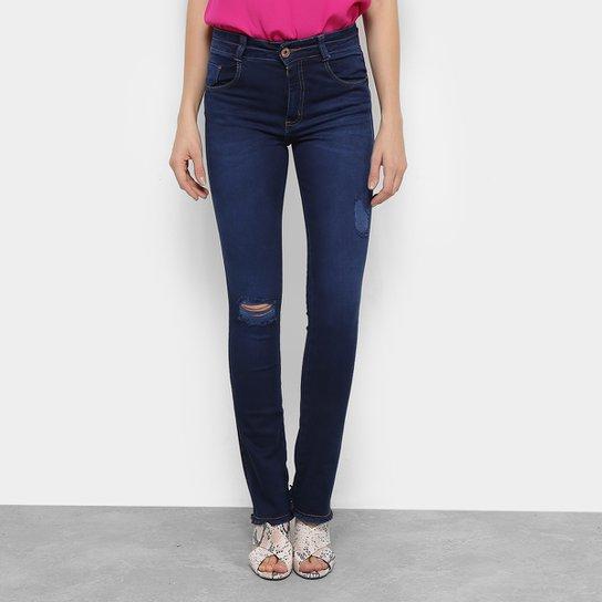 Calça Jeans Reta Biotipo Puídos Barra Desfiada Cintura Média Melissa  Feminina - Azul ee415c19fb9