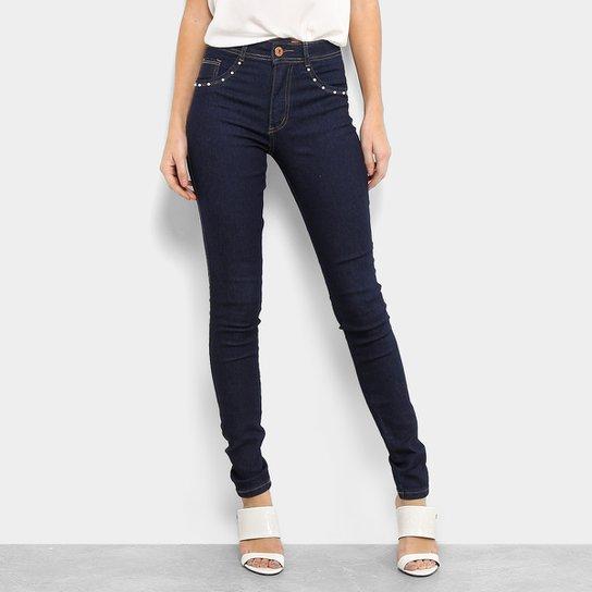 5f6dd3d6f Calça Jeans Skinny Biotipo Melissa Cintura Média Pérolas Feminina - Azul