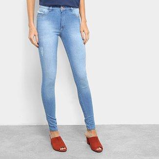 78414f061 Calça Jeans Biotipo Melissa Skinny Barra Virada Desfiado Feminina