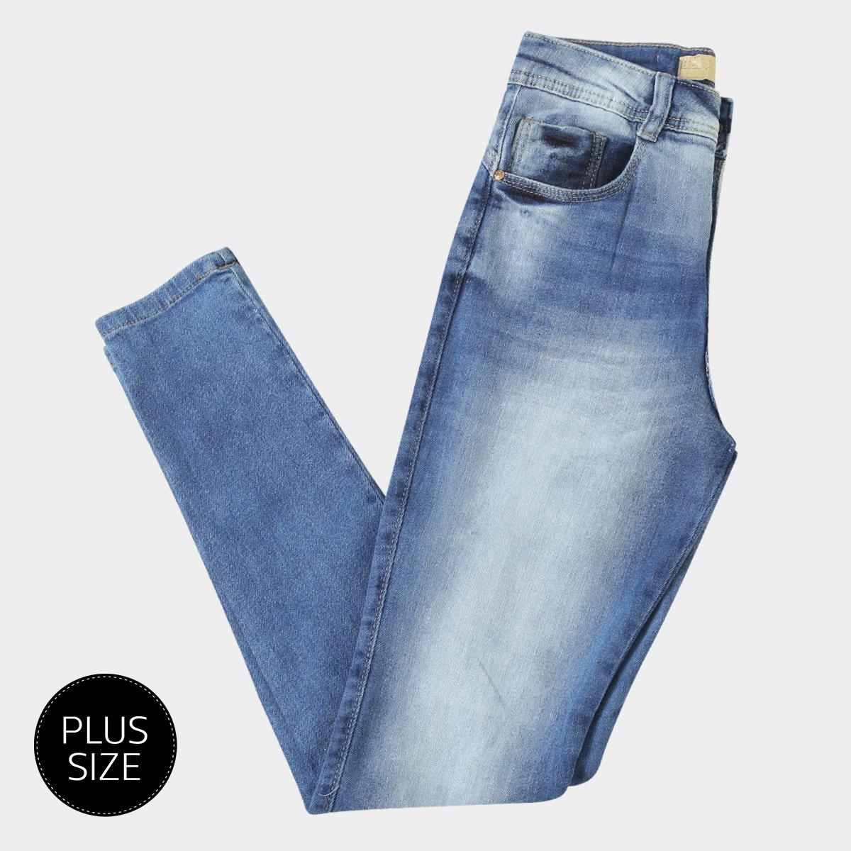 96acb2ffd Calça Jeans Skinny Biotipo Estonada Cintura Alta Plus Size Feminina